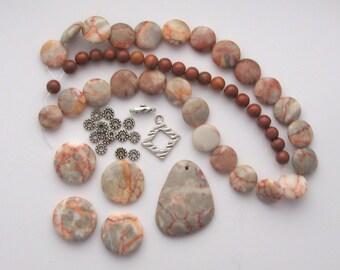 Bead Kit Redline Jasper Pendant Red Malachite DIY Necklace Kit Beads a Plenty™