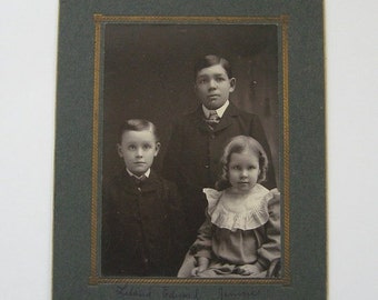 ON SALE Victorian Photograph Portrait Brothers and Sister Collectible Antique Family
