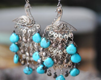 Turquoise Peacock Chandeliers
