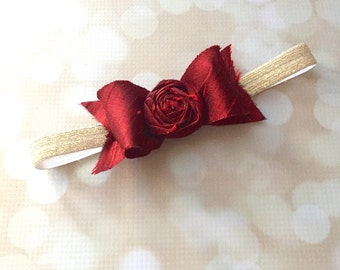 Red and Gold Handmade Silk Bow Couture Headband - Black Cherry 100% Silk Couture Newborn Photo Prop Headband - Deep Red Baby Bow