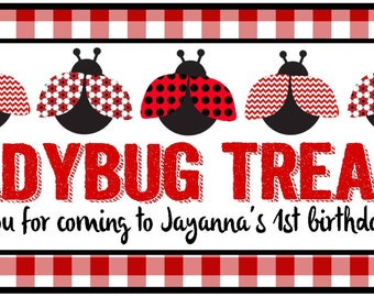 Ladybug party favor box STICKERS ONLY - birthday party favor, lady bug first birthday, baby shower, lady bug birthday party, goodie box, bag