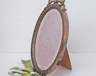 Vintage French Photo Picture Frame Brass Oval Easel w Ribbon Bow Accent