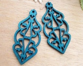 4 Pcs/WP23 / #10 Deep Blue/ Filigree Lace Pairs for Earring/ Laser cut lace Wooden Charm /Pendant /Filigree Wood Dangle/Eardrop/Wedding gift