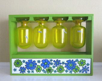 60's/70's Mod Spice Rack with Hanging Spice Jars