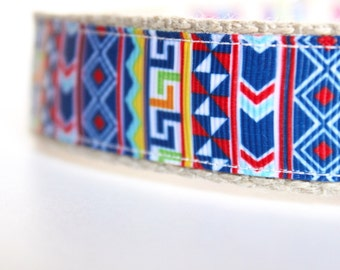 Tribal Dog Collar, Boy Dog Collar, Southwest Dog Collar, Adjustable Dog Collar, Colorful Dog Collar