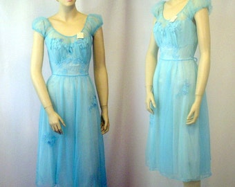 Vintage Peignior Nightgown and Robe Turquoise Blue Artemis 1950's NOS Original Tags Ladies S
