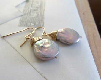Silver gray pearl earrings, nature freeform wire wrapped pearl drop earrings, dangle, mystic hue, bridesmaid gift