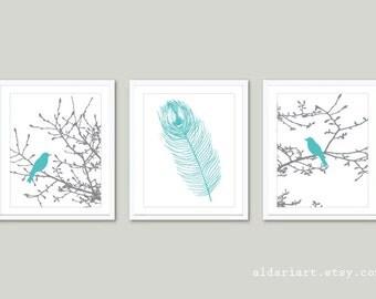 Birds on Magnolia Tree Branches and Feather Prints - Set of 3 - Birds on Branches Prints - Gray and Blue - Modern Decor Aldari Art