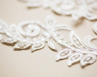 Swirl Bridal Lace applique - Appset- 42 Silver