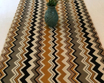 TRL1368E  Chevron Print Upholstery Fabric, Table Runner, Table Setting, Throw, Couch Cover, Bead Trim, Up Cycled,  Table Cover, Bead Trim