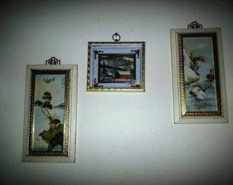 Vintage Asian Print Gold Frame Pictures