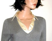 RALPH LAUREN  Silk and Cashmere Pullover V Neck Sweater with Silk  Collar Blouse Insert  Size Small