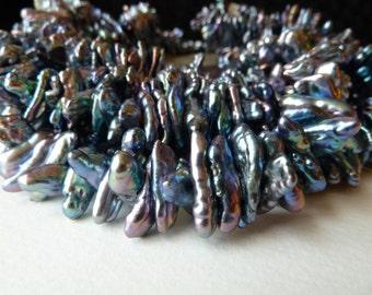 Dark Peacock Stick Pearls - Biwa Stick Pearls - Center Drilled Dark Blue, Gray, Purple - Iridescent Luster - Gorgeous Quality (sp1)