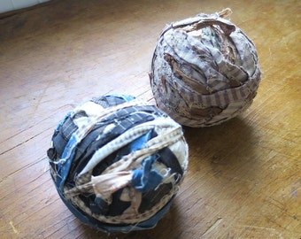 Two Early American Rag Balls, Calico, Folk Art, Primitives, Country Decor