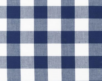 Navy and White Plaid Checked Gingham, Robert Kaufman Carolina Gingham, 1 Yard