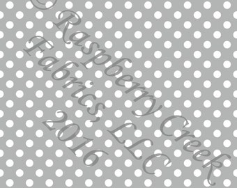 Grey and White Polka Dot 4 Way Stretch FRENCH TERRY Knit Fabric, Club Fabrics, 1 Yard