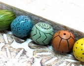 Colorful Bead set for jewelry making, Polymer Clay Beads, Artisan Beads, Art Beads, Primitive Beads, Rustic Beads, yellow green turquoise
