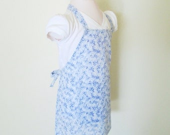 Children's Apron - Funky Blue Spirals Covering this Quirky Fun Print...Boy or girl apron...Great for cooking, baking, or arts and crafts