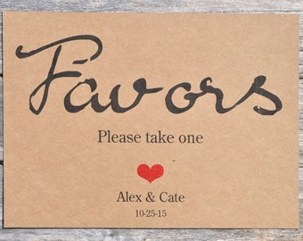 Wedding Favor Sign 5x7 Rustic, Kraft Print - Baby Shower Favors Sign, Rustic Weddings - Please Take One Favor Sign
