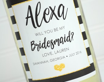 Bridesmaid Wine Bottle Labels - Personalized Bridal Party Gift Wine Bottle Labels - Wedding Wine Label - Black and Gold - Set of 4
