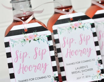 Bridal Shower Favor Tags for Mini Wine Bottles, Wedding Favors, Mini Champagne Tags, Personalized Wedding Wine - Black Floral - Set of 12