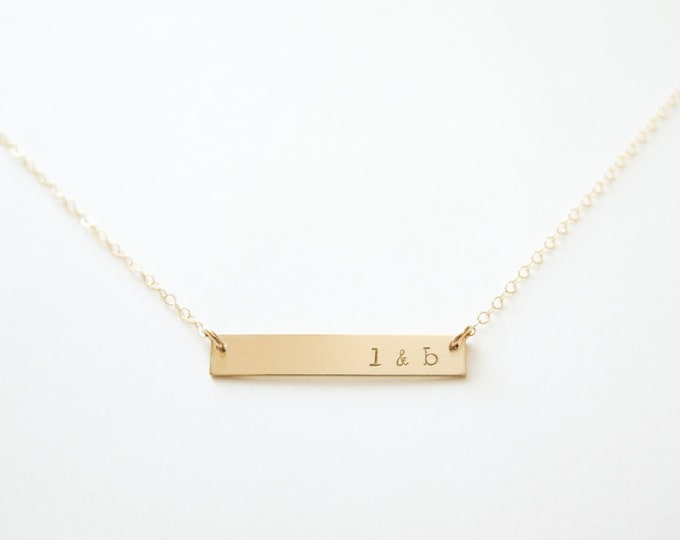 Custom Bar Necklace with Initials - 14k Gold Fill Necklace - Hand Stamped Jewelry by Betsy Farmer Designs - Dainty Jewelry Gift
