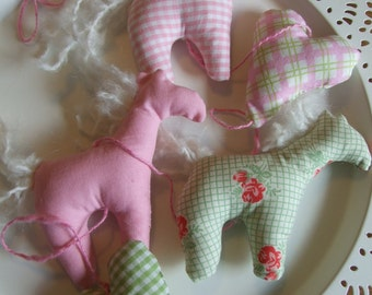 Tiny Horses Garland, Vertical Mobile, Nursery Decor, Playroom, Pink, Green, Gingham, Roses, Zakka, Baby Shower, Party Decor, Keepsake