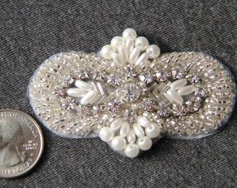 White Pearl Beaded Applique with Rhinestones