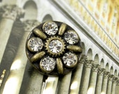 Metal Buttons - Crystals Rhinestone Antique Brass Flower Metal Shank Buttons , 0.79 inch , 6 pcs