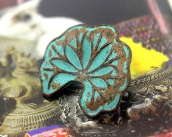 Lotus Leaf Metal Buttons - Lotus Leaf Green Patina Metal Shank Buttons - 23mm - 0.91 inch - 6 pcs