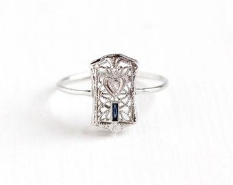 Antique Art Deco 10k White Gold Diamond & Simulated Sapphire Ring - Vintage 1920s Size 6 3/4 Blue Glass Stone Filigree Heart Fine Jewelry