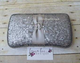 READY TO SHIP, Gray Sequin, Travel Wipe Case, Baby Wipe Case, Diaper Wipe Case, Baby Wipe Holder, Baby Shower Gift, Baby Wipe Clutch