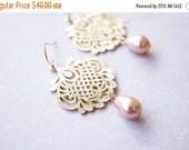 14OFFSALE Earrings, Gold Earrings, Pearl Earrings, Ros Gold Earrings, Swarovski Earrings, Filigree Earrings, Swarovski Crystal, Rose Gold, N