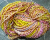 handspun SUNNY DREAMS, 105 yard skeins, corriedale roving, yellow, pink peach Garden Party Fibers