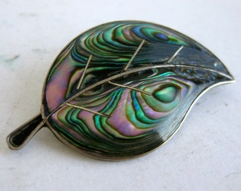 Vintage Mexican Taxco Sterling Silver Abalone Shell Inlay Leaf Brooch Pin