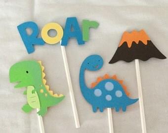 12 Roar Dinosaur cupcake Toppers T-Rex Volcano Long neck Roar
