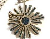 Cecilia Tona Modernist Peacock Mechanical Pendant - Taxco Mexican 925 Sterling Silver