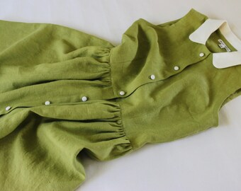 Green Linen Shirt Dress