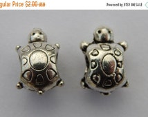 CLEARANCE Large Hole Jewelry Beads - 14mm Metal Turtle European Style Silver Color Animal, 5mm Hole, 10 Pieces