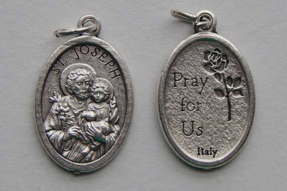 5 Patron Saint Medal Findings - St. Joseph, Father, Die Cast Silverplate, Silver Color, Oxidized Metal, Made in Italy, Charm, RM507