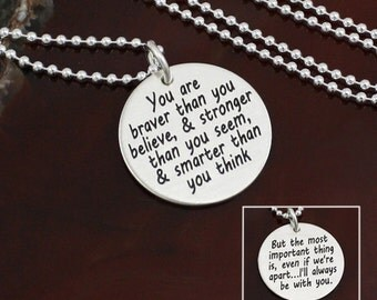You are Braver Than You Believe Necklace / Key Ring | Inspirational Jewelry