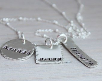 stamped name discs | mothers necklace | custom stamped silver | three kids names | 3 names | mom of 3 | push present | mommy necklacce