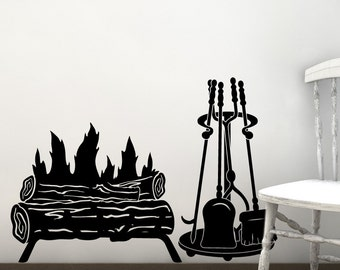 Rustic Decor Log Fire Decal, Vinyl Wall Decal, Fireplace And Tool Set  Silhouette, Part 95