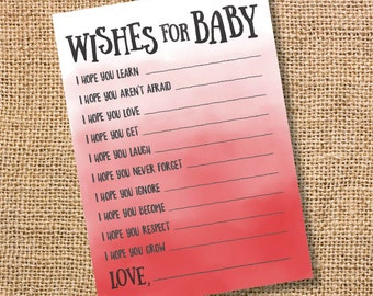 Wishes for Baby Red Ombre Printable Baby Shower Baby Boy Twins Baby Girl Red Watercolor Baby Wishes Advice Card Scarlet Red INSTANT DOWLOAD