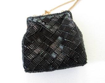 vintage evening bag  Black beads gold chain strap Le Regale