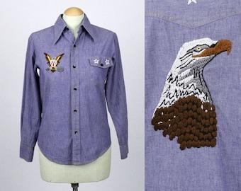 vintage embroidered denim shirt • stars & stripes womens chabray blouse