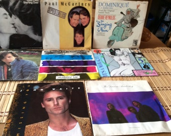 8 Vintage 45 Records All with Picture Sleeves Lennon, McCartney, Petty, Melloncamp, Culture Club, Waite, Dream Academy, Debbie Reynolds