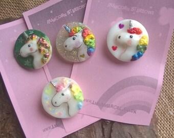Small Unicorn rainbow brooches