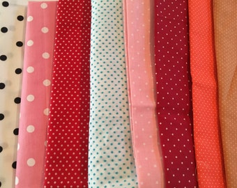 Vintage Fabric Polka Dots and Stripes Lot of 30 pieces