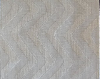 Custom Curtains Valance Roman Shade in Ivory /Cream in Vertical Zig Zag Pattern Fabric